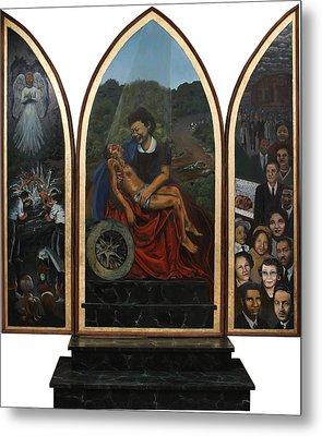 Emmett Till Memorial Triptych Metal Print by Art Nomad Sandra  Hansen
