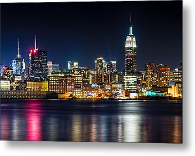 Empire State Building And Midtown Manhattan At Night Metal Print