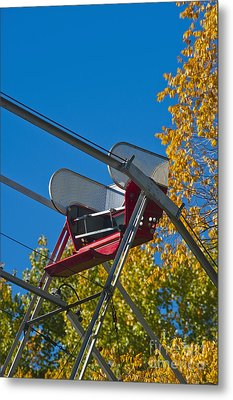 Empty Chair On Ferris Wheel Metal Print by Thom Gourley/Flatbread Images, LLC