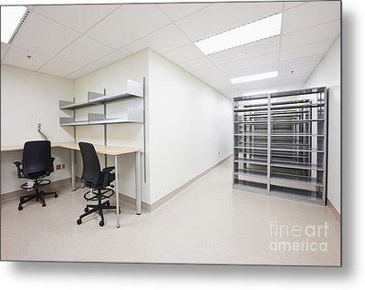 Empty Metal Shelves And Workstations Metal Print by Jetta Productions, Inc