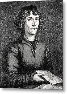 Engraving Of Nicolas Copernicus, Polish Astronomer Metal Print by Dr Jeremy Burgess