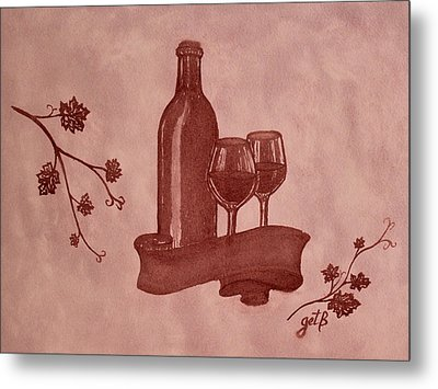 Enjoying Red Wine  Painting With Red Wine Metal Print by Georgeta  Blanaru