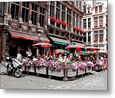 Enjoying The Grand Place Metal Print by Carol Groenen