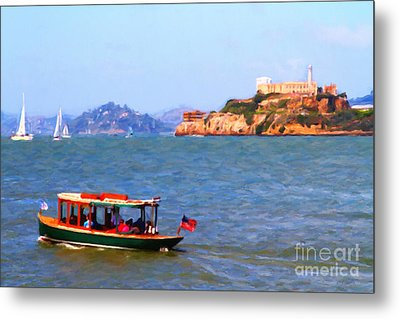Enjoying The San Francisco Bay With Alcatraz Island In The Distance . 7d14323 Metal Print by Wingsdomain Art and Photography