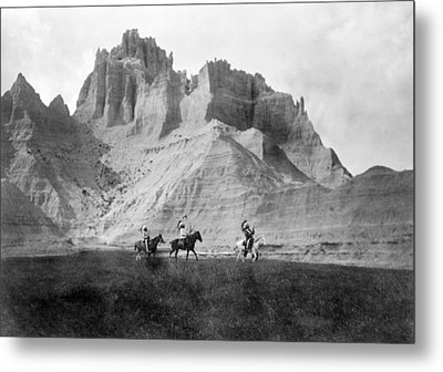 Entering The Badlands, Three Sioux Metal Print by Everett