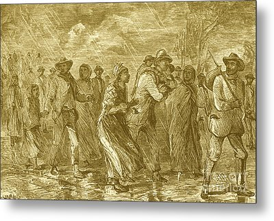 Escaping To Underground Railroad Metal Print by Photo Researchers
