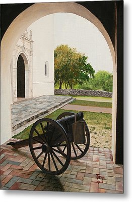 Metal Print featuring the painting Espiritu Santo Mission Cannon by Jimmie Bartlett