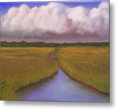 Metal Print featuring the painting Estuary Storm by Janet Greer Sammons