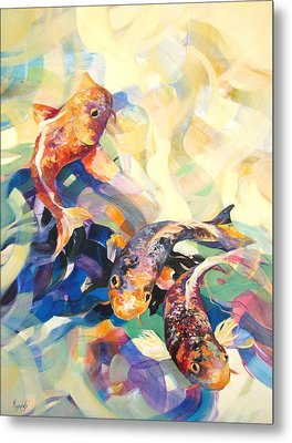 Metal Print featuring the painting Ethereal Koi 3 by Rae Andrews