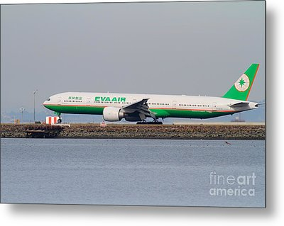 Eva Airways Jet Airplane At San Francisco International Airport Sfo . 7d12260 Metal Print by Wingsdomain Art and Photography