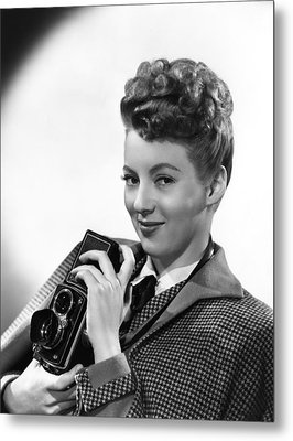Evelyn Keyes, With A Rolex Camera, Ca Metal Print by Everett