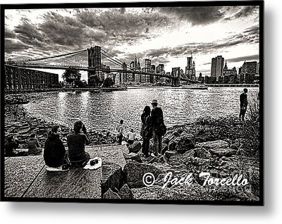Metal Print featuring the photograph Evening At Brooklyn Bridge by Jack Torcello