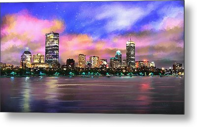 Metal Print featuring the painting Evening Lights by Robert Smith