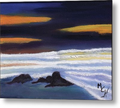 Evening Sunset On Beach Metal Print