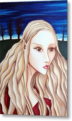 Metal Print featuring the drawing Eventide by Danielle R T Haney