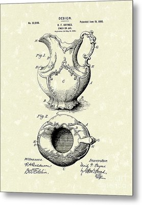 Ewer Or Jug Design 1900 Patent Art Metal Print by Prior Art Design