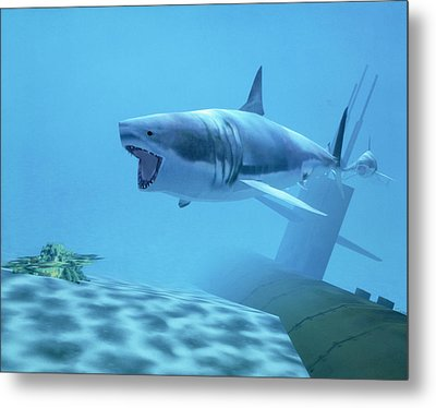 Example Of Reality Centre Graphics, Shark Metal Print by David Parker