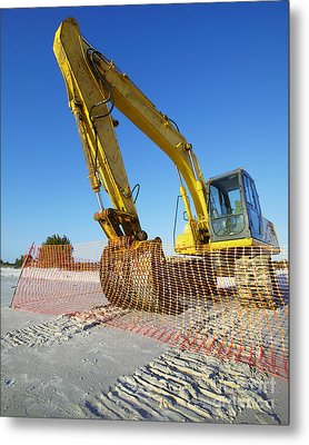 Excavator On The Beach Metal Print by Skip Nall