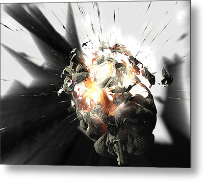 Exploding Brain Metal Print by Christian Darkin