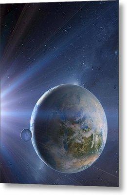 Extrasolar Earth-like Planet, Artwork Metal Print by Detlev Van Ravenswaay