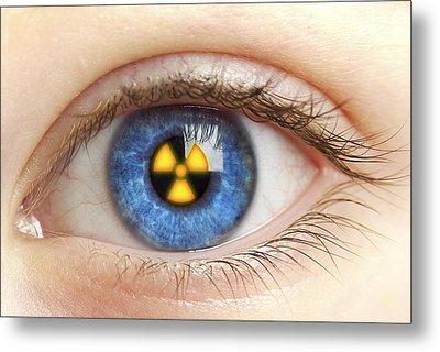 Eye With Radiation Warning Sign Metal Print by Pasieka