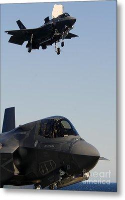 F-35b Lighnting II Variants Land Aboard Metal Print by Stocktrek Images