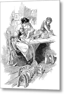 Face Mask Production, 19th Century Metal Print