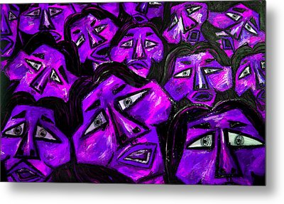 Faces - Purple Metal Print by Karen Elzinga