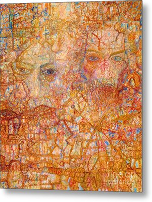 Faces On An Icon Metal Print by Pg Reproductions