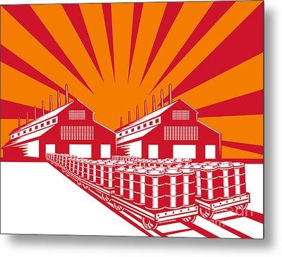 Factory Building Oil Drum Barrel Retro Metal Print
