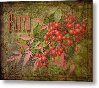 Faith Spring Berries Metal Print by Cindy Wright