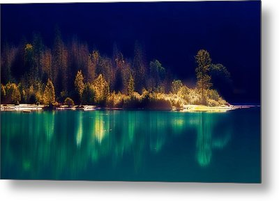 Fall Along The Lake Metal Print