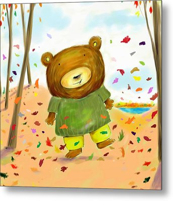 Fall Bear Metal Print