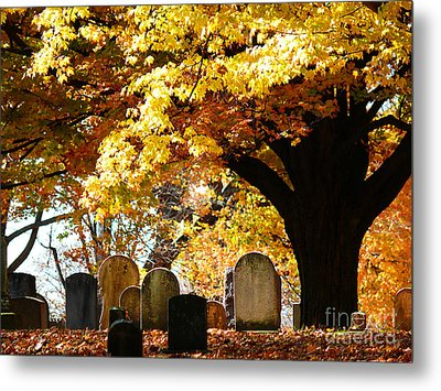 Metal Print featuring the photograph Fall Cemetery by Jeanne  Woods