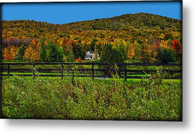 Fall Glory On The Other Side Of The Fence Metal Print by Chantal PhotoPix