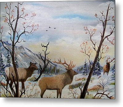 Metal Print featuring the painting Fall In The Beartooth Mountains by Al  Johannessen