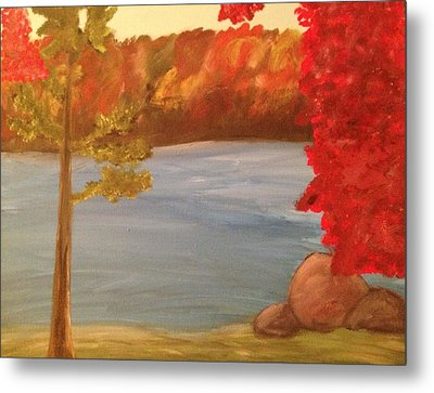 Fall On River Metal Print by Paula Brown