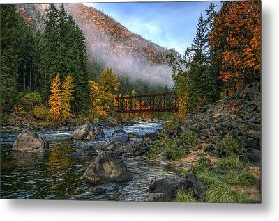 Fall Up The Tumwater Metal Print