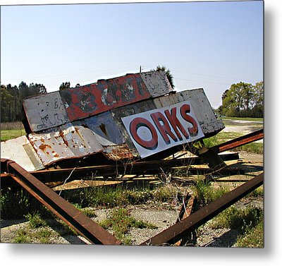Metal Print featuring the photograph Fallen Sign by Steve Sperry