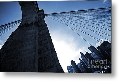 Falling Lines - Brooklyn Bridge Metal Print