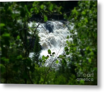 Falls In Forest Frame Metal Print by Art Studio