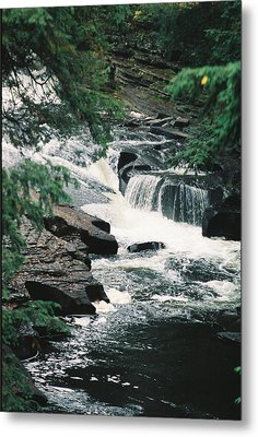 Falls On Presque Isle River Metal Print by C E McConnell