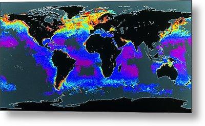 False-col Satellite Image Of World's Oceans Metal Print by Dr Gene Feldman, Nasa Gsfc