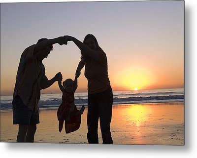 Family Portrait On The Beach At Sunset Metal Print by Rich Reid