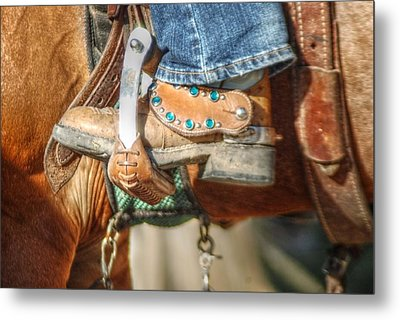Fancy Horse Tack At A Show Metal Print by Jennifer Holcombe