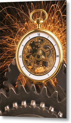 Fancy Pocketwatch On Gears Metal Print by Garry Gay