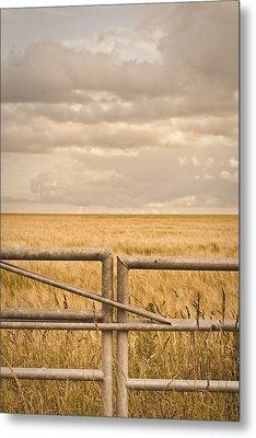 Farm Gate Metal Print by Tom Gowanlock