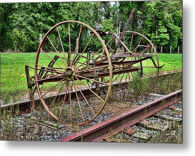 Farm - Horse-drawn Combine Metal Print by Paul Ward
