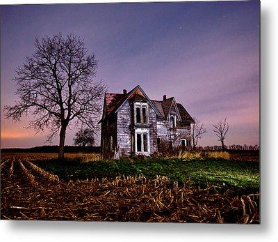 Farm House At Night Metal Print