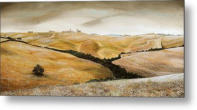 Farm On Hill - Tuscany Metal Print by Trevor Neal